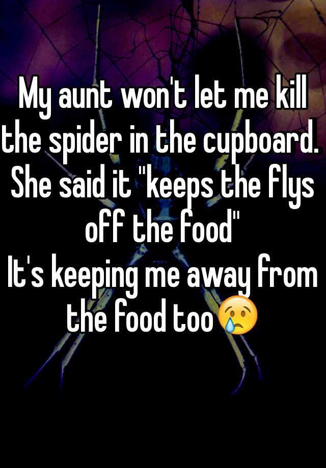 "My aunt won't let me kill the spider in the cupboard. She said it ""keeps the flys off the food"" It's keeping me away from the food too😢"