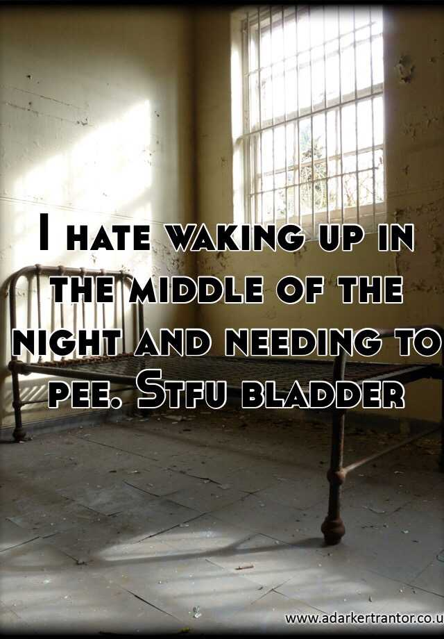 I hate waking up in the middle of the night and needing to pee. Stfu bladder