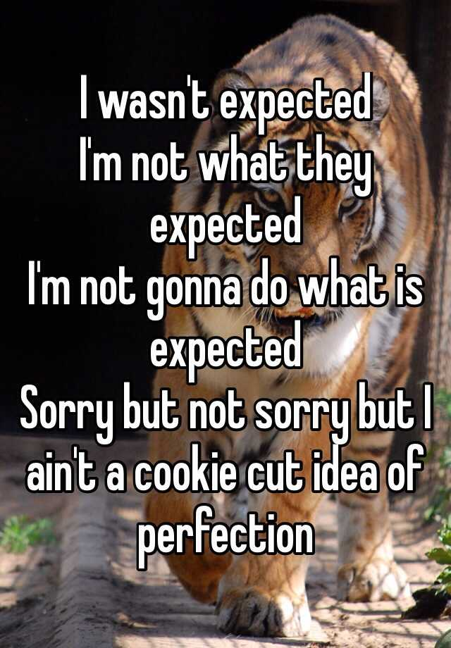 I wasn't expected I'm not what they expected  I'm not gonna do what is expected Sorry but not sorry but I ain't a cookie cut idea of perfection
