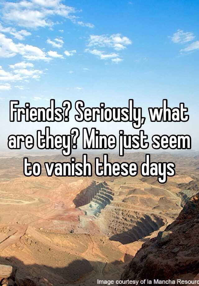 Friends? Seriously, what are they? Mine just seem to vanish these days