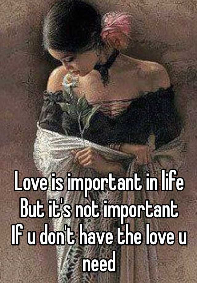 Love is important in life  But it's not important  If u don't have the love u need