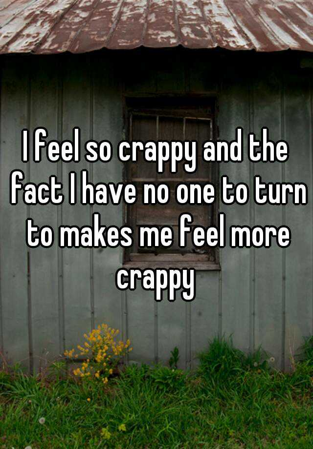 I feel so crappy and the fact I have no one to turn to makes me feel more crappy