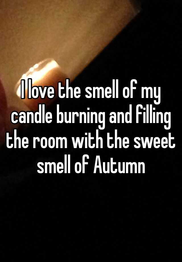 I love the smell of my candle burning and filling the room with the sweet smell of Autumn